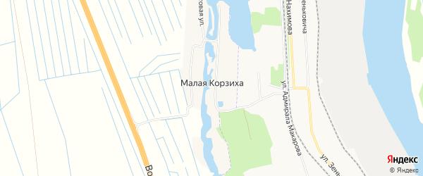 Карта деревни Малой Корзихи в Архангельской области с улицами и номерами домов