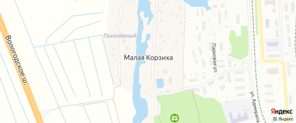 Приозёрная улица на карте деревни Малой Корзихи с номерами домов