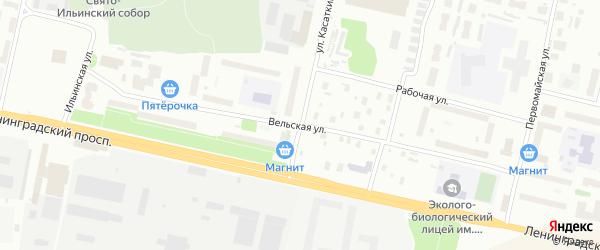 Вельская улица на карте Архангельска с номерами домов