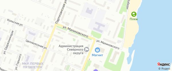Улица Малиновского на карте Архангельска с номерами домов
