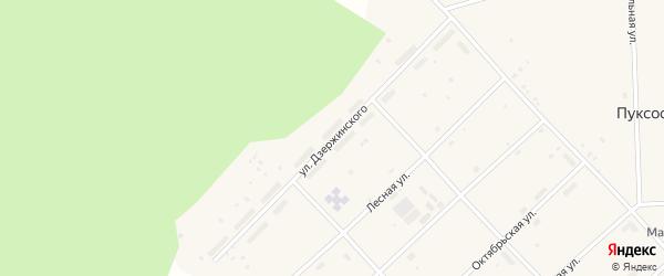 Улица Дзержинского на карте поселка Пуксоозеро с номерами домов