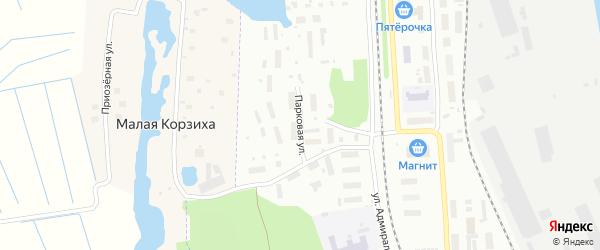 Парковая улица на карте Архангельска с номерами домов