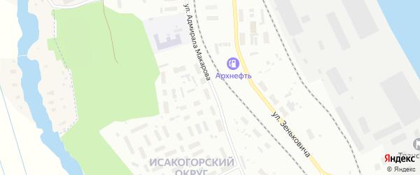 Улица Адмирала Макарова на карте Архангельска с номерами домов