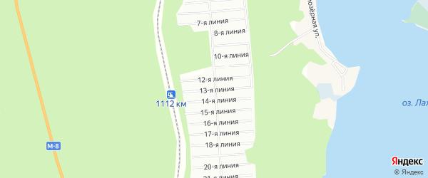 Карта Лахтинского садового некоммерческого товарищества в Архангельской области с улицами и номерами домов