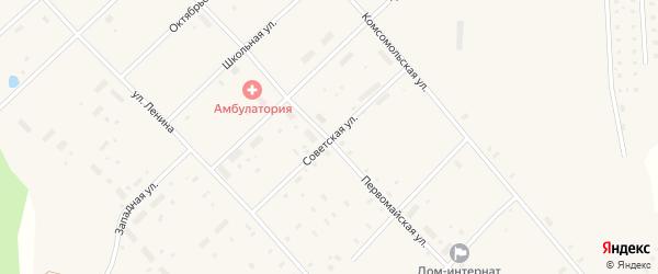 Советская улица на карте поселка Пуксоозеро с номерами домов