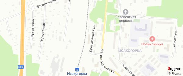 Привокзальная улица на карте Архангельска с номерами домов