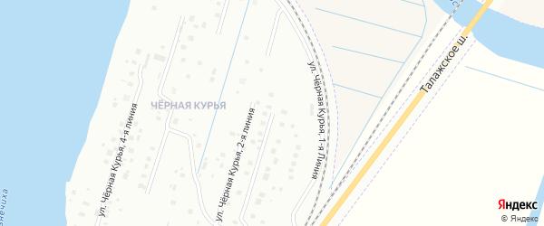 Чёрная Курья 1-я линия на карте Архангельска с номерами домов