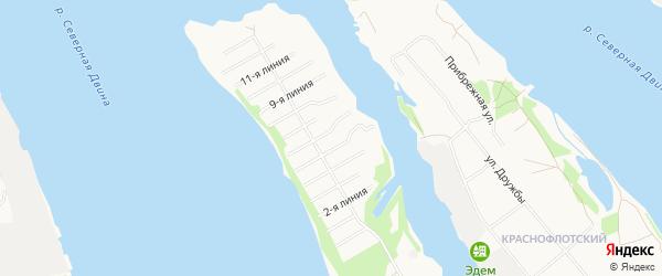 Карта поселка СНТ Виченки города Архангельска в Архангельской области с улицами и номерами домов