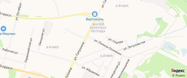 ГСК Майская горка на карте улицы Полины Осипенко с номерами домов