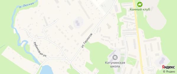 Улица Геологов на карте поселка Катунино с номерами домов