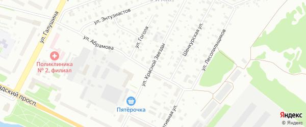 Улица Красной Звезды на карте Архангельска с номерами домов
