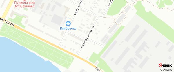 Кооперативная улица на карте Архангельска с номерами домов