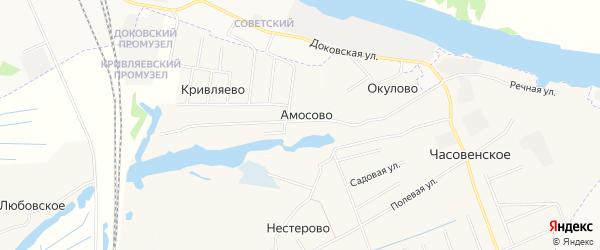 Карта деревни Амосово в Архангельской области с улицами и номерами домов