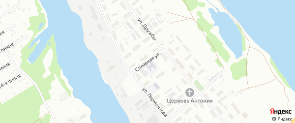Сплавная улица на карте Архангельска с номерами домов