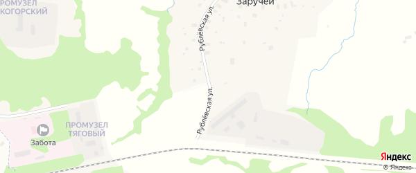 Рублевская улица на карте деревни Заручья с номерами домов