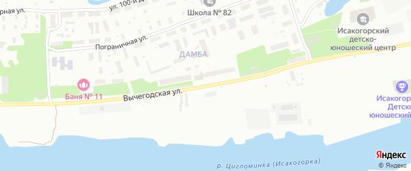 Вычегодская улица на карте Архангельска с номерами домов