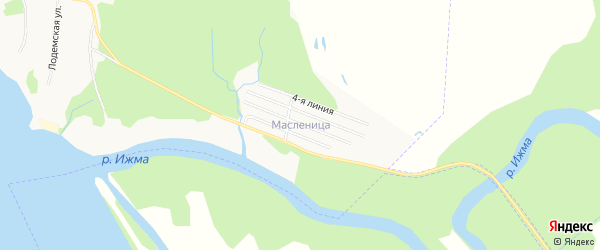 Карта поселка СОТА Масленицы города Архангельска в Архангельской области с улицами и номерами домов