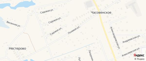 Полевая улица на карте деревни Часовенского с номерами домов
