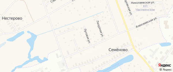 Луговая улица на карте деревни Часовенского с номерами домов