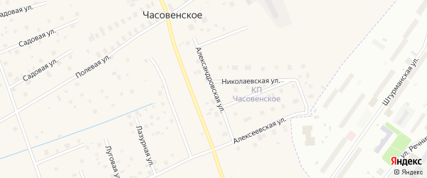 Александровская улица на карте деревни Часовенского с номерами домов