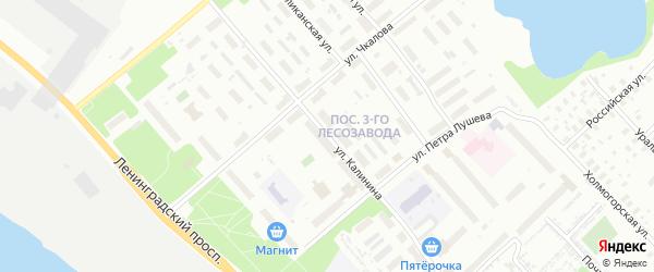 Улица Калинина на карте Архангельска с номерами домов