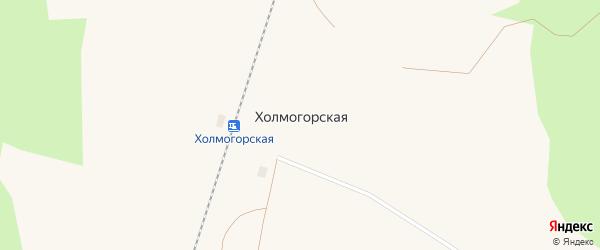 Октябрьская улица на карте поселка Холмогорской с номерами домов