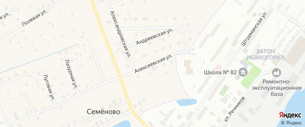 Алексеевская улица на карте деревни Часовенского с номерами домов