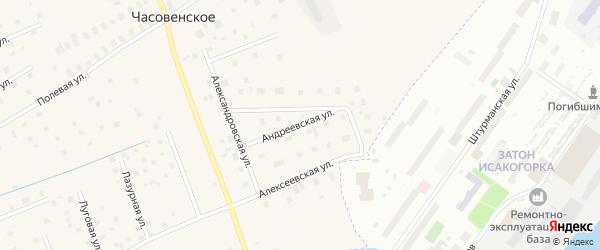 Андреевская улица на карте деревни Часовенского с номерами домов