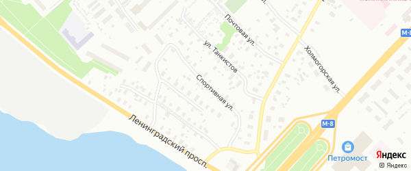 Спортивная улица на карте Архангельска с номерами домов