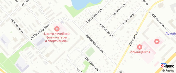 Холмогорская улица на карте Архангельска с номерами домов