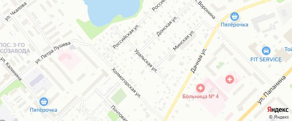 Уральская улица на карте Архангельска с номерами домов