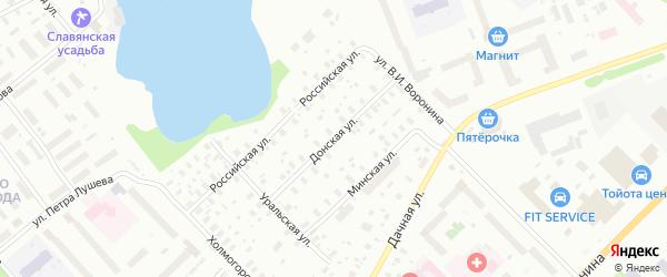 Донская улица на карте Архангельска с номерами домов
