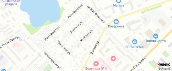 Минская улица на карте Архангельска с номерами домов