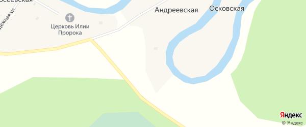 Магистральная улица на карте Андреевской деревни с номерами домов