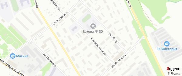 Квартальная улица на карте Архангельска с номерами домов