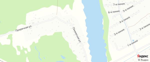 Пинежская улица на карте Архангельска с номерами домов