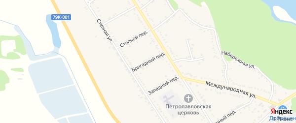 Бригадный переулок на карте Вольного села с номерами домов