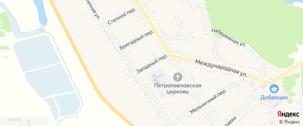 Западный переулок на карте Вольного села с номерами домов