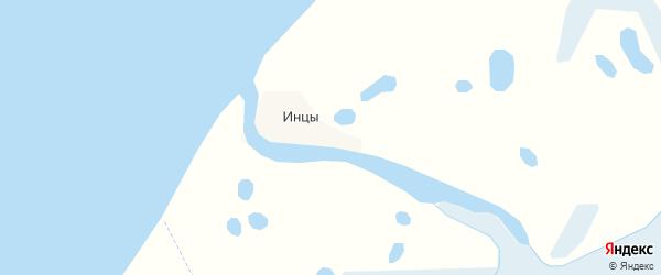 Карта деревни Инцев в Архангельской области с улицами и номерами домов