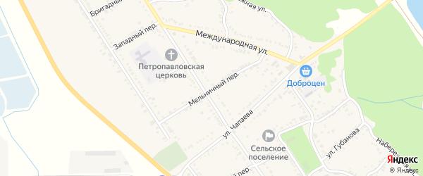 Мельничный переулок на карте Вольного села с номерами домов