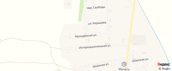 Молодежная улица на карте аула Ходзь с номерами домов