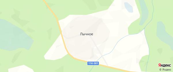 Карта деревни Лычного в Архангельской области с улицами и номерами домов
