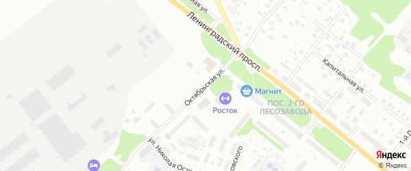 Октябрьская улица на карте Архангельска с номерами домов