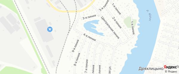 Поселок Расчалка 4 Линия на карте Архангельска с номерами домов
