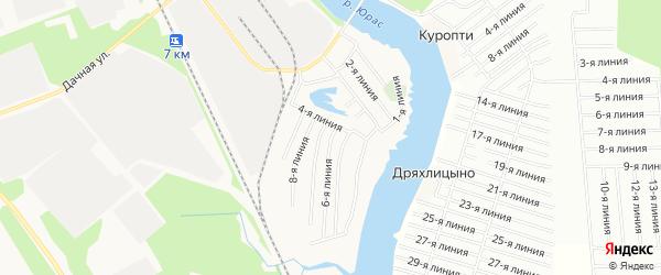 Карта поселка СОТА Малинки города Архангельска в Архангельской области с улицами и номерами домов