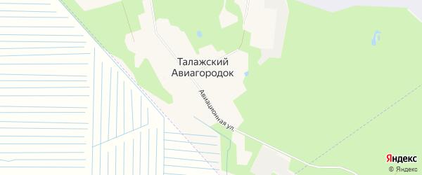 Карта поселка Талажского авиагородка города Архангельска в Архангельской области с улицами и номерами домов