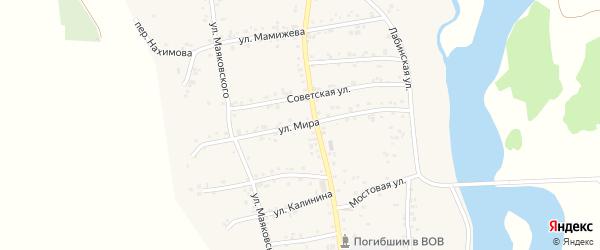 Улица Мира на карте аула Ходзь с номерами домов
