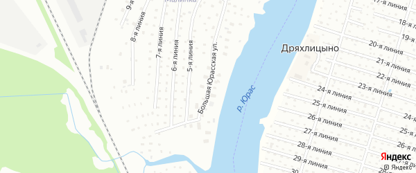 Большая Юрасская улица на карте Архангельска с номерами домов