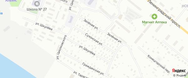 Сухонская улица на карте Архангельска с номерами домов