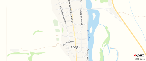 Карта аула Ходзь в Адыгее с улицами и номерами домов